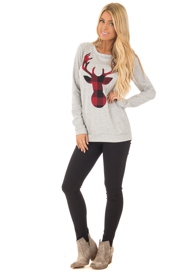 Heather Grey Top with Red Plaid Deer Print front full body