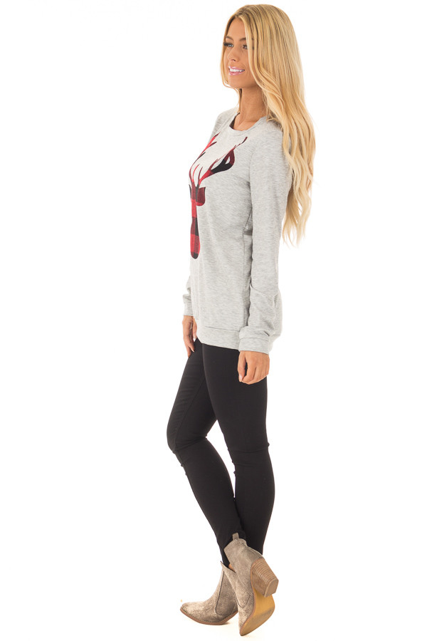 Heather Grey Top with Red Plaid Deer Print side full body
