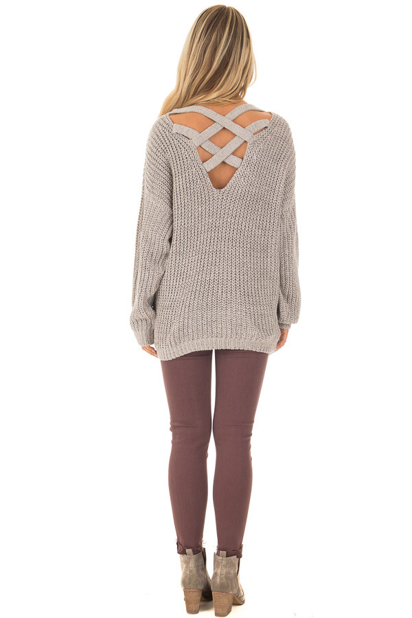 Cement Grey Sweater with Criss Cross Band Back back full body