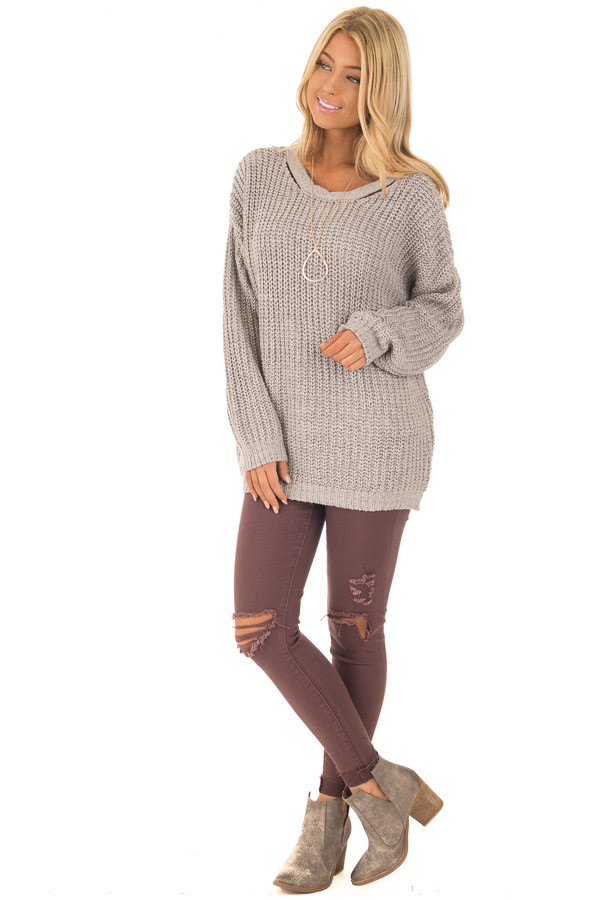 Cement Grey Sweater with Criss Cross Band Back front full body