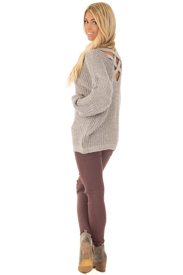 Cement Grey Sweater with Criss Cross Band Back back side full body