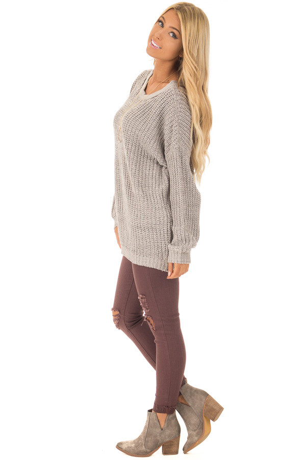 Cement Grey Sweater with Criss Cross Band Back side full body