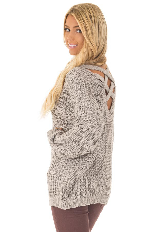 Cement Grey Sweater with Criss Cross Band Back back side close up