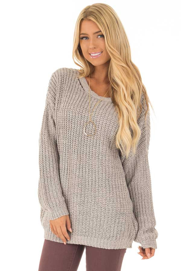 Cement Grey Sweater with Criss Cross Band Back front close up