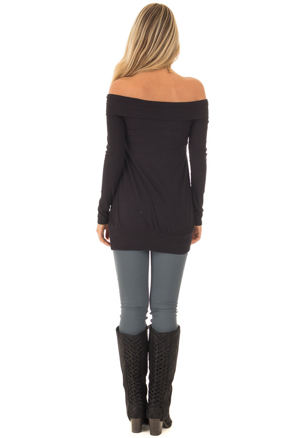 Black Off the Shoulder Top with Crossover Neckline back full body