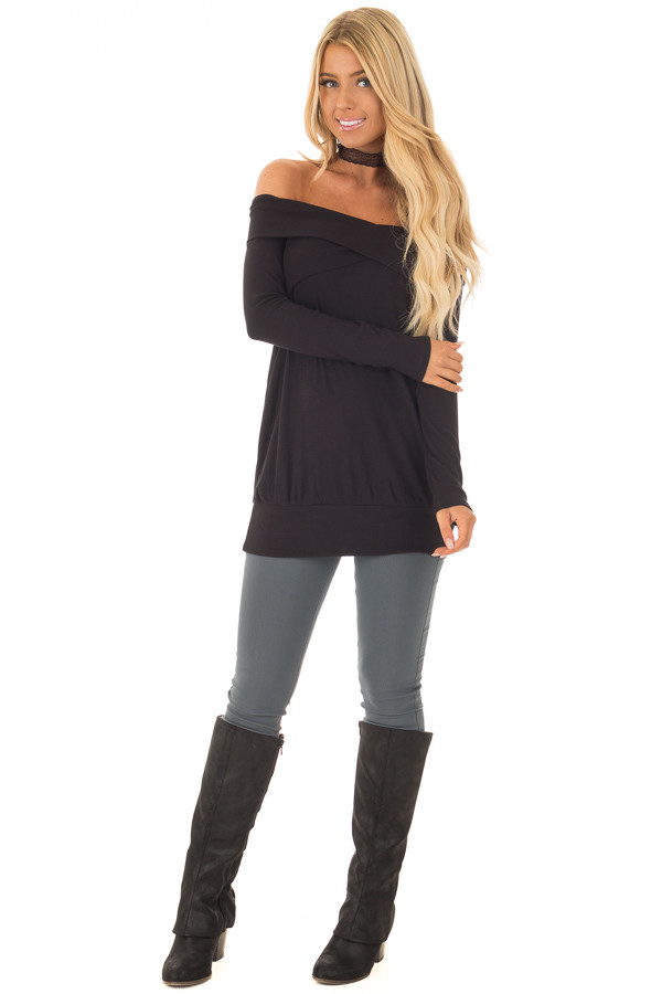 Black Off the Shoulder Top with Crossover Neckline front full body