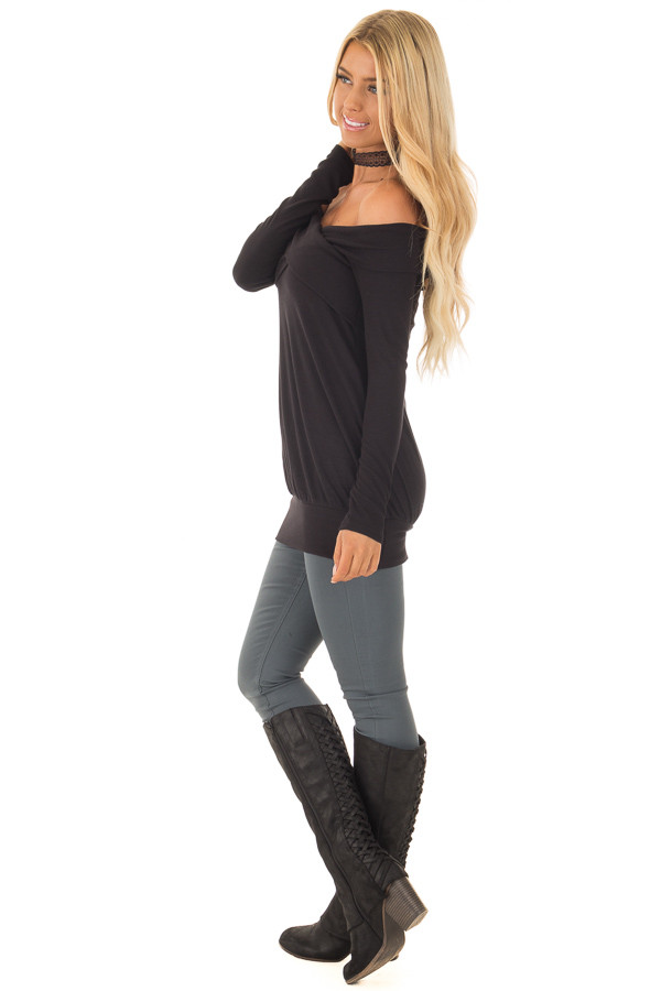 Black Off the Shoulder Top with Crossover Neckline side full body