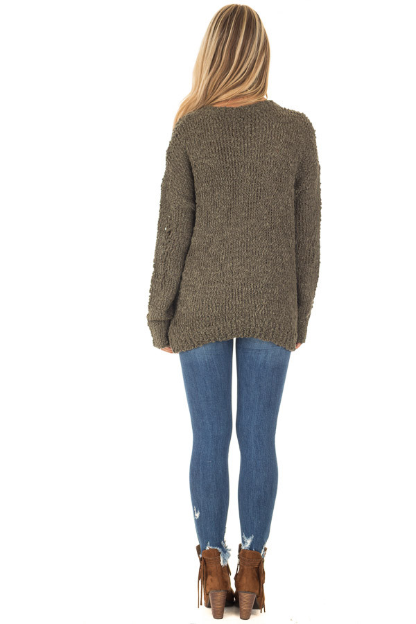 Forest Green Knit Sweater with Distressed Details back full body