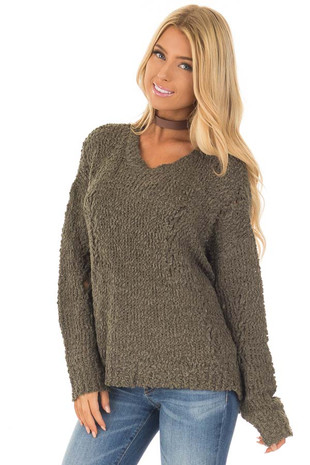 Forest Green Knit Sweater with Distressed Details front close up