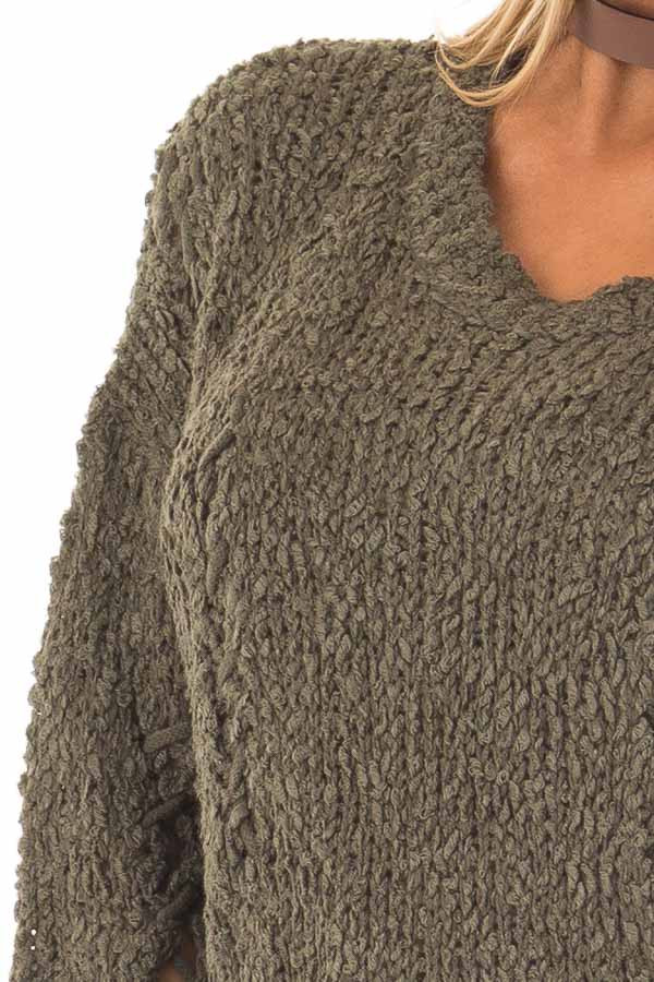Forest Green Knit Sweater with Distressed Details detail