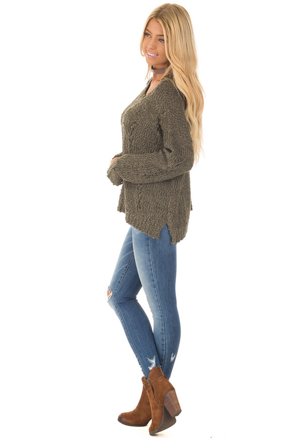 Forest Green Knit Sweater with Distressed Details side full body