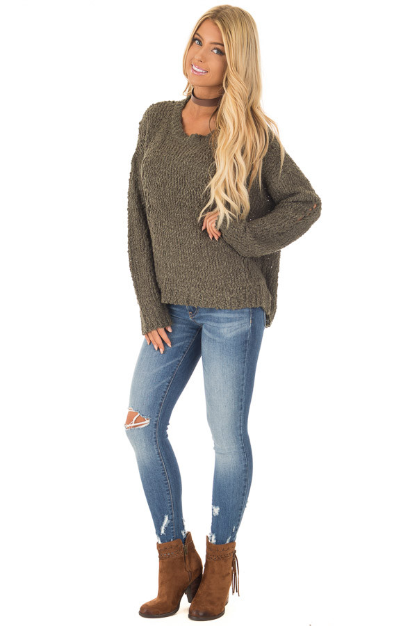 Forest Green Knit Sweater with Distressed Details front full body
