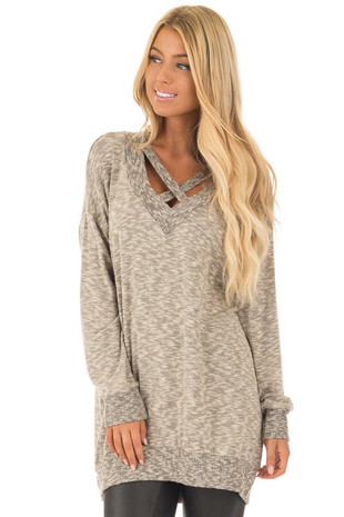 Taupe Two Tone Long Sleeve Sweater with Neckline Details front close up