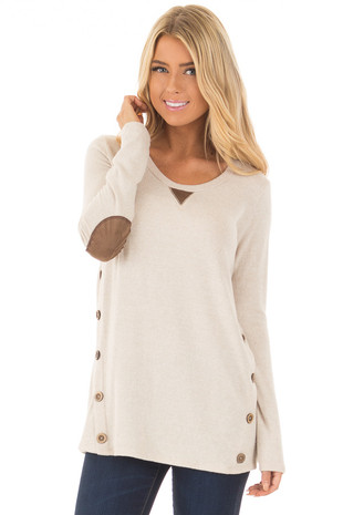 Oatmeal Soft Knit Top with Faux Suede and Button Details front close up