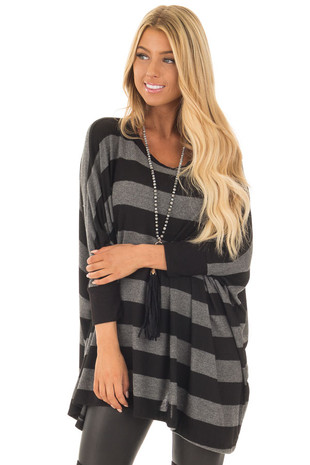 Black and Charcoal Striped Poncho with Arm Holes front close up