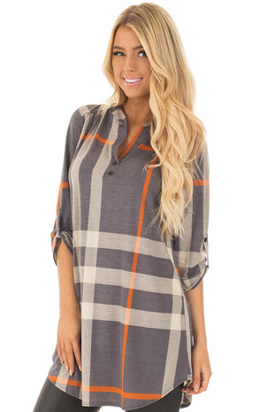 Stormy Grey Plaid Tunic with Roll Up Sleeves front close up
