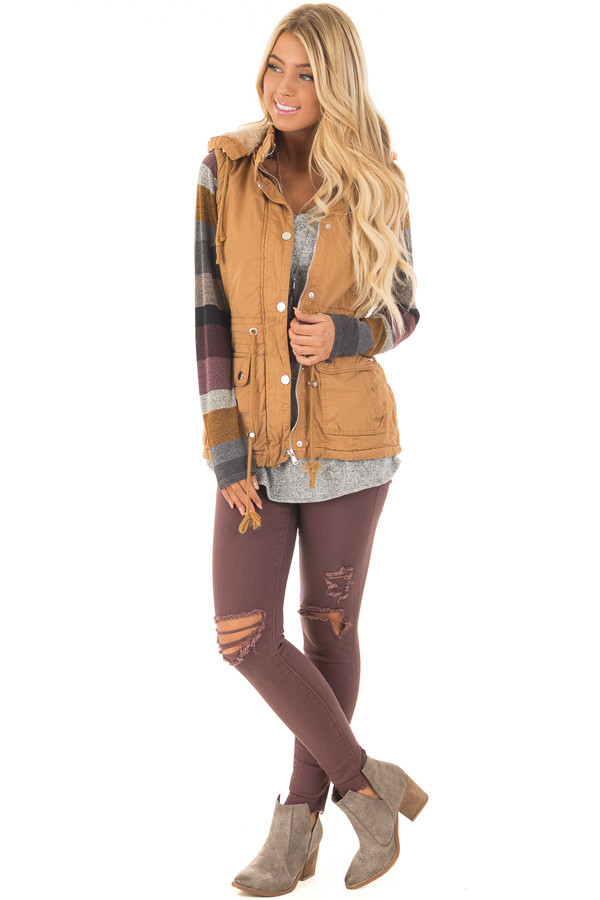 Camel Vest with Silver Zipper Details front full body