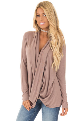 Mocha Draped Cross Over Long Sleeve Tunic Top front close up