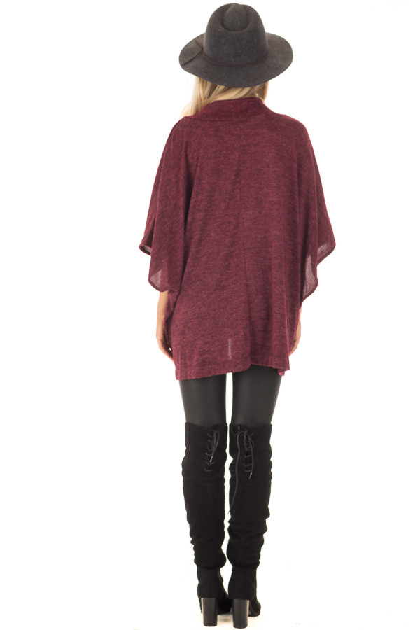 Burgundy Knit Loose Fit V Neck Poncho Sweater back full body