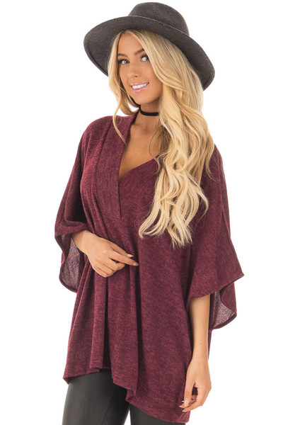 Burgundy Knit Loose Fit V Neck Poncho Sweater front close up