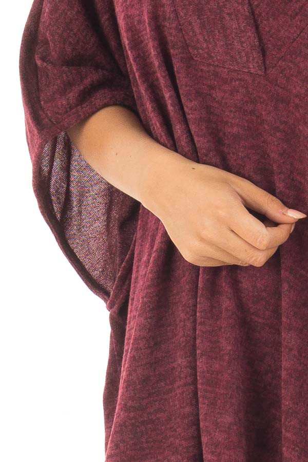 Burgundy Knit Loose Fit V Neck Poncho Sweater detail