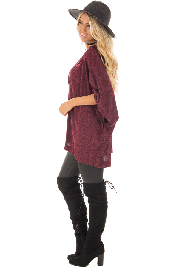 Burgundy Knit Loose Fit V Neck Poncho Sweater side full body
