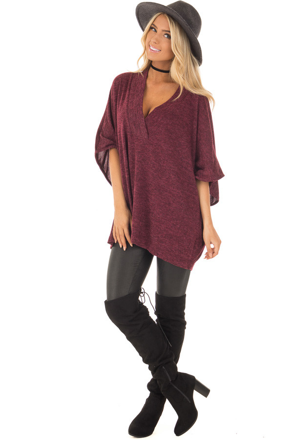 Burgundy Knit Loose Fit V Neck Poncho Sweater front full body