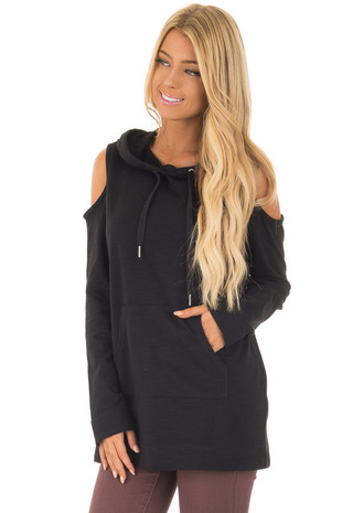 Black Cold Shoulder Hoodie front close up