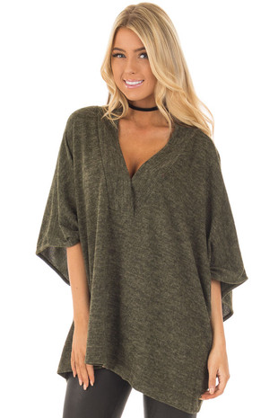 Olive Knit Loose Fit V Neck Poncho Sweater front close up