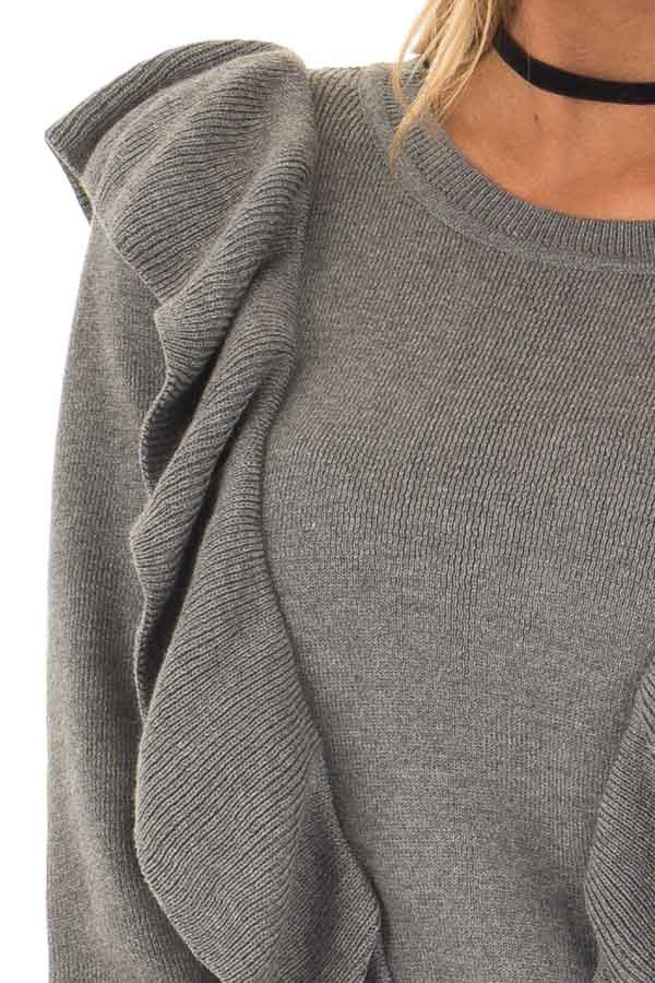 Grey Sweater with Ruffles detail