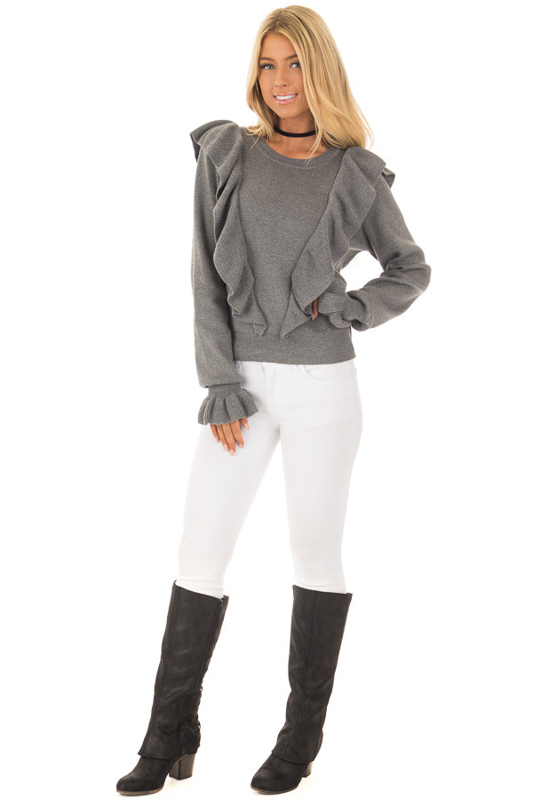 Grey Sweater with Ruffles front full body