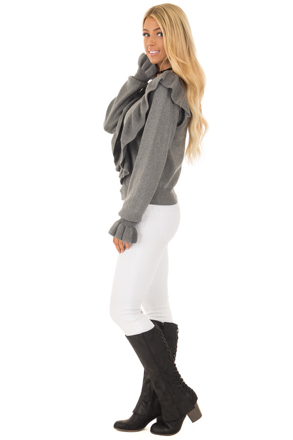 Grey Sweater with Ruffles side full body