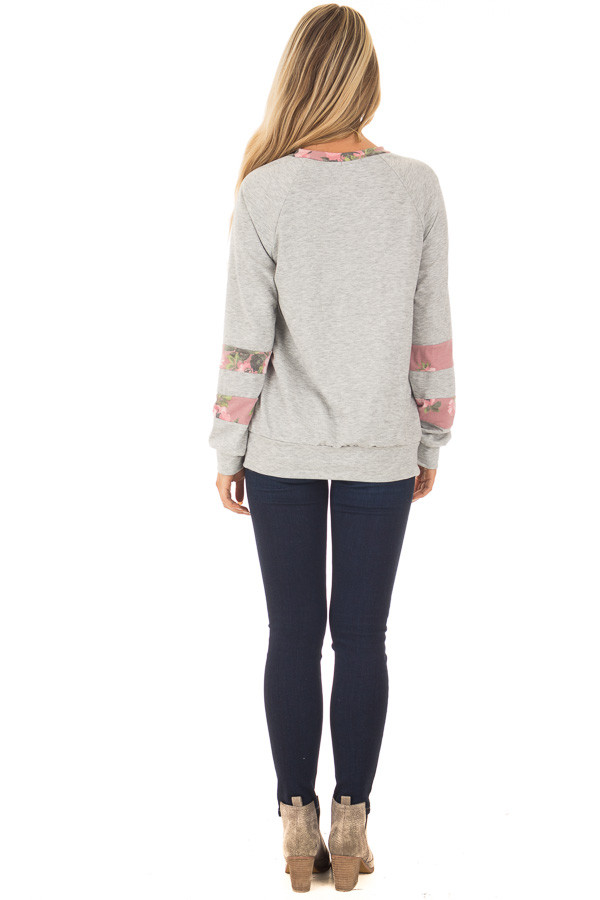 Heather Grey Varsity Sweater with Dusty Rose Floral Contrast back full body