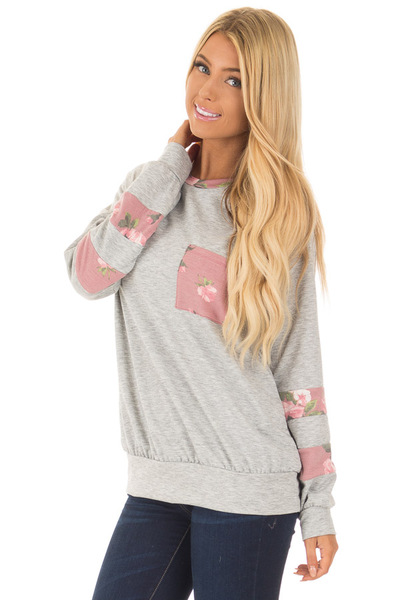 Heather Grey Varsity Sweater with Dusty Rose Floral Contrast front close up