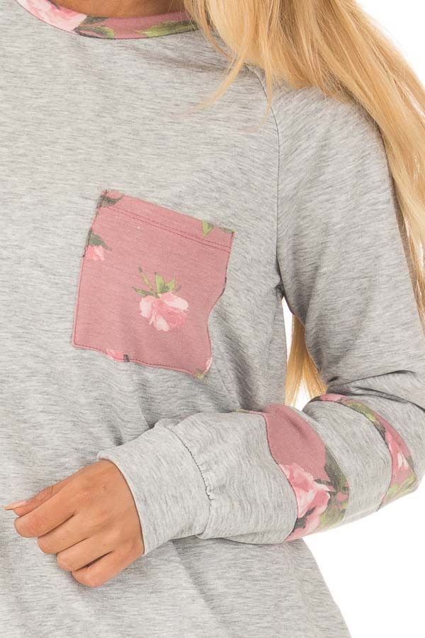 Heather Grey Varsity Sweater with Dusty Rose Floral Contrast detail