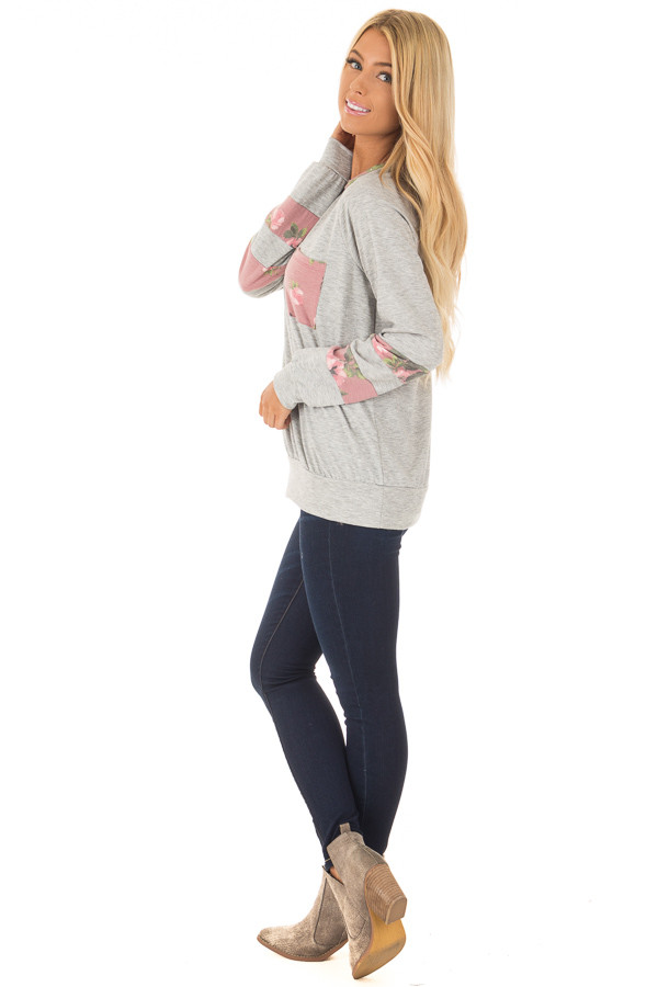 Heather Grey Varsity Sweater with Dusty Rose Floral Contrast side full body