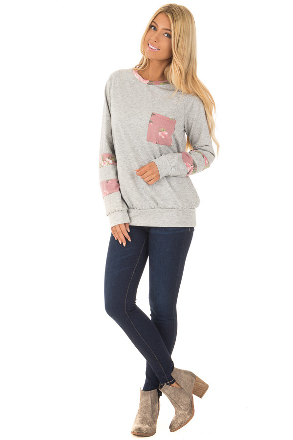 Heather Grey Varsity Sweater with Dusty Rose Floral Contrast front full body