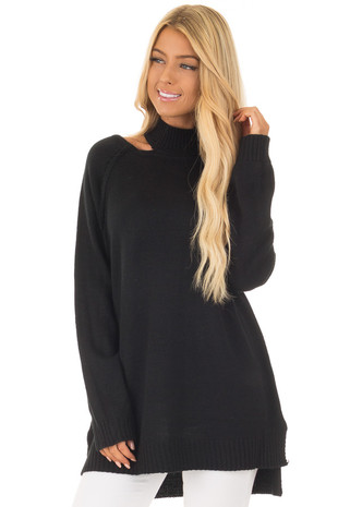 Black Sweater with Neckline Cut Out Details front close up