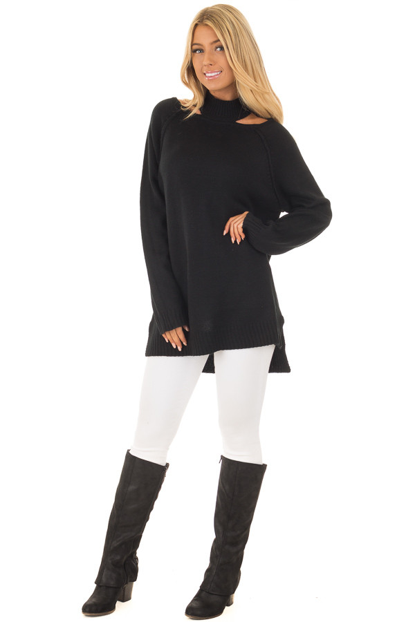 Black Sweater with Neckline Cut Out Details front full body