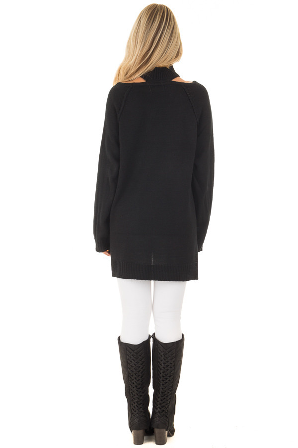Black Sweater with Neckline Cut Out Details back full body