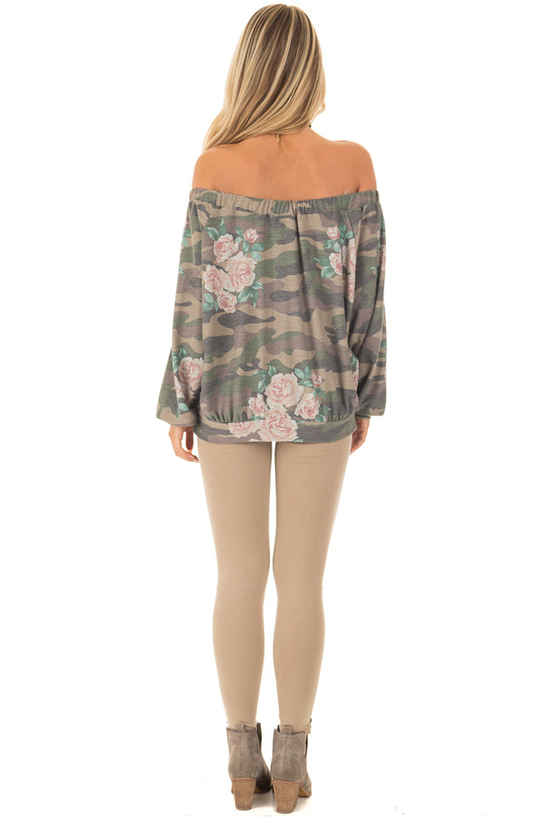 Camo Floral Print Off the Shoulder Top back full body