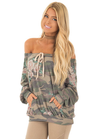 Camo Floral Print Off the Shoulder Top front close up