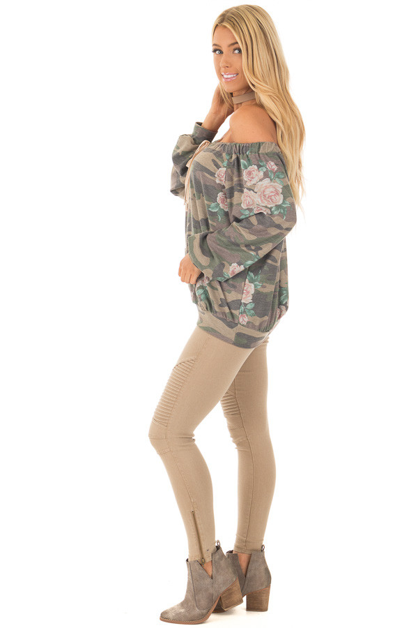 Camo Floral Print Off the Shoulder Top side full body