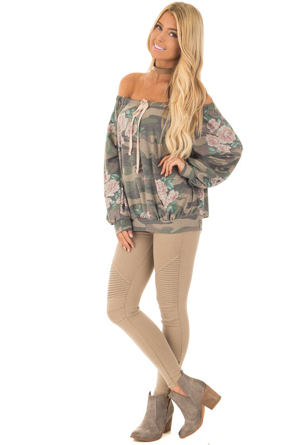 Camo Floral Print Off the Shoulder Top front full body