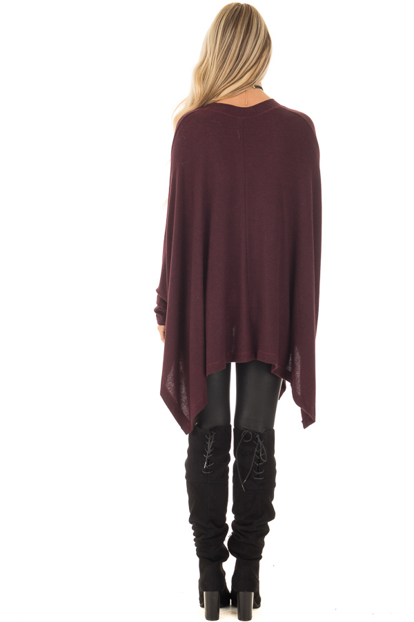 Burgundy Knit Draped Poncho with Arm Band Detail back full body