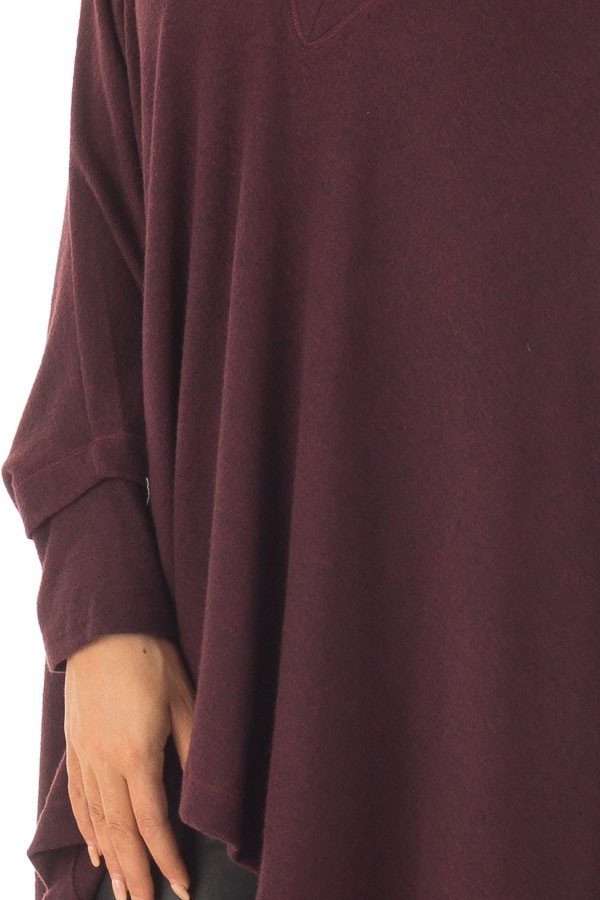 Burgundy Knit Draped Poncho with Arm Band Detail detail