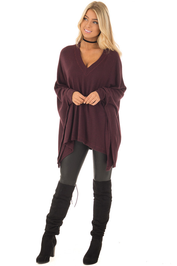 Burgundy Knit Draped Poncho with Arm Band Detail front full body