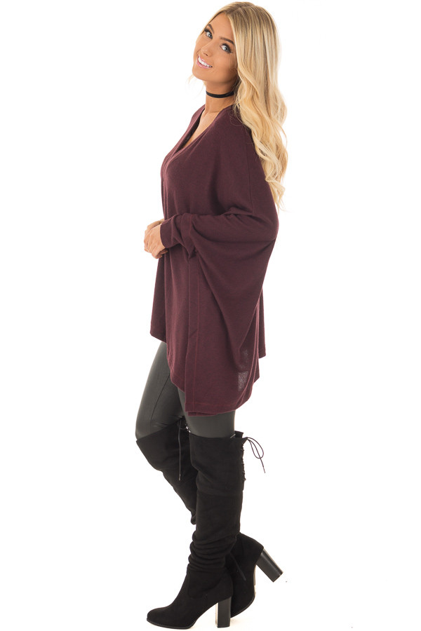 Burgundy Knit Draped Poncho with Arm Band Detail side full body