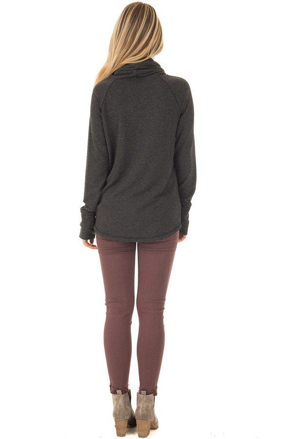 Charcoal Cowl Neck Long Sleeve Comfy Top with Pockets back full body