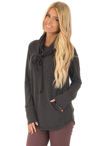 Charcoal Cowl Neck Long Sleeve Comfy Top with Pockets front close up